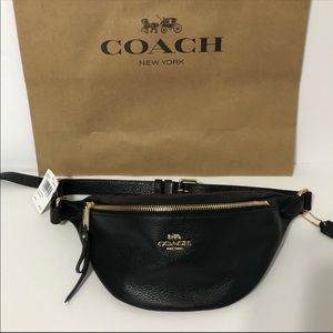 Authentic Coach Black Pebble Leather Belt Bag NWT
